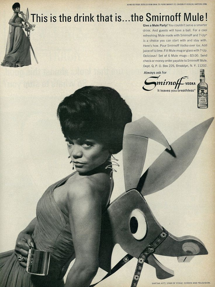 1966 Liquor Ad, Smirnoff Vodka, with the Sensuous Eartha Kitt, Plus Smirnoff Mule Mug Offer | by classic_film