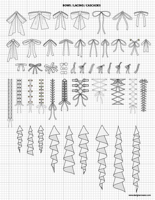 Vector Garment Accessories $24.95 – Bows, Lacings, Cascades – scaled to fit perfectly with our Mix&Match Fashion Sketch Templates