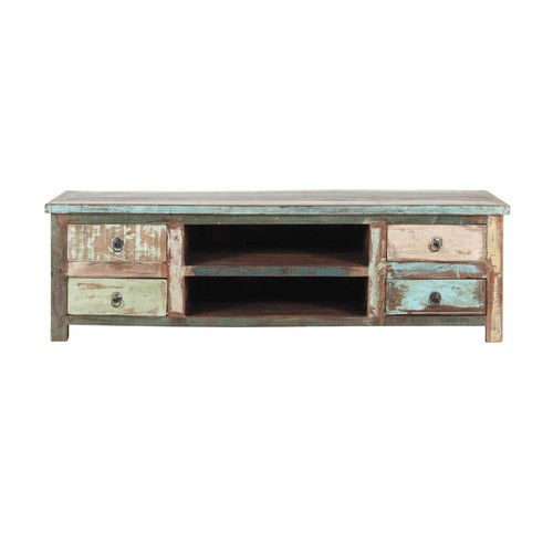 Recycled wood TV unit W 140cm