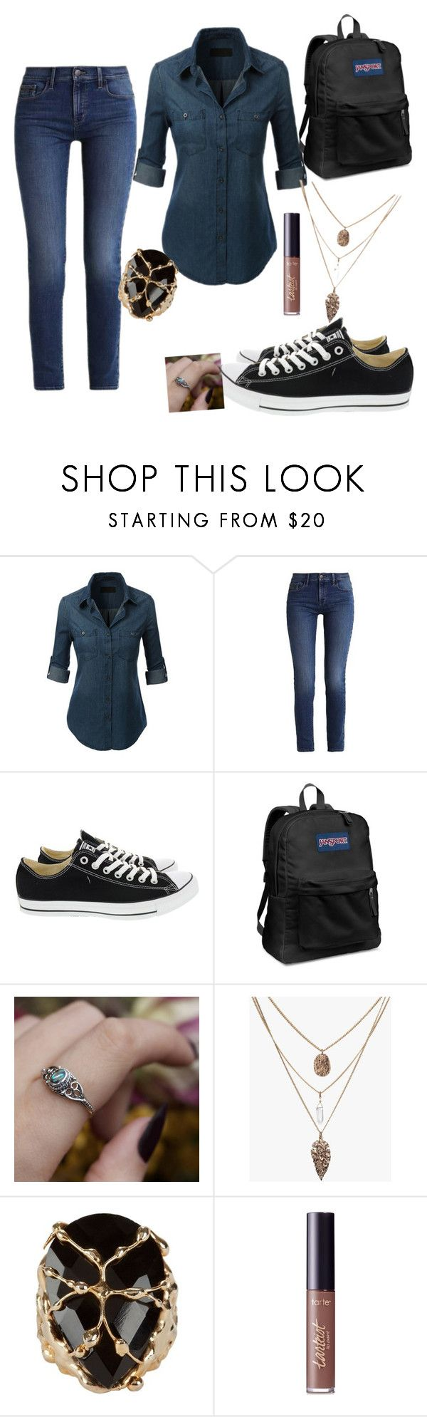 """""""School Outfit"""" by roze-m ❤ liked on Polyvore featuring Calvin Klein, Converse, JanSport, REGALROSE, Rosantica and tarte"""