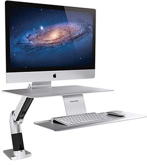 The WorkFit-A is a sleek, height-adjustable workstation for iMac designed so that you can sit or stand at your computer.