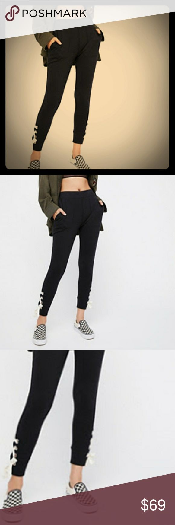 NWT FREE PEOPLE lace up slim fit jogger sweatpants New with tags size small. Pockets. Slim tapered leg. White lacing detail at ankles. Relaxed ruse. The perfect  lazy Sunday joggers. Free People Pants
