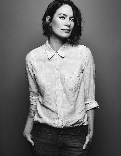 Lena Headey // short dark bob, casual button down shirt & jeans #style #fashion