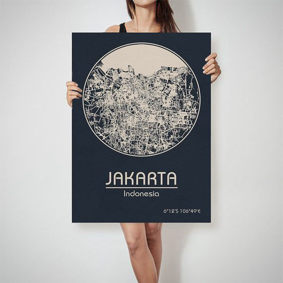 JAKARTA Indonesia map City Street Map Art Print by ArchTravel