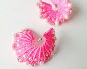 Macrame Style Knotted Braided Spiral Earrings in Hot Pink Colour with Pearls