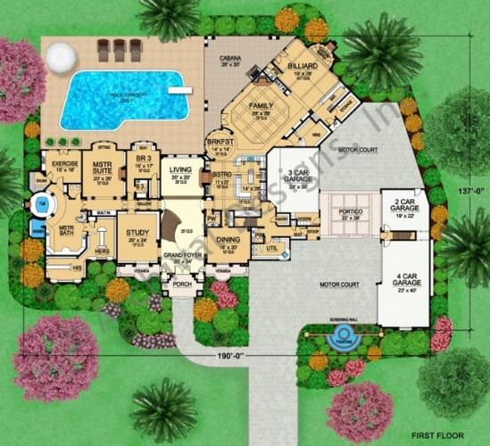 Luxury mansion house plan first floor floor plans for Mansion house plans 8 bedrooms