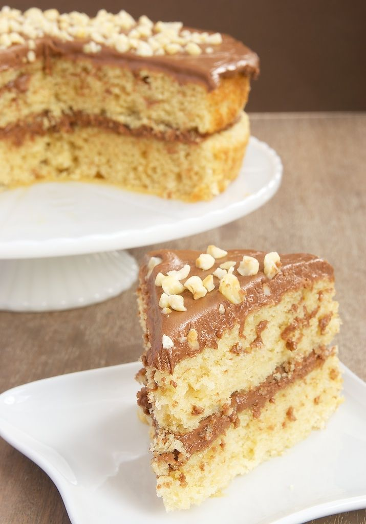 Hazelnut Cake with Mocha Frosting is sure to please fans of chocolate and coffee. Love those nutty layers and that rich frosting! - Bake or Break