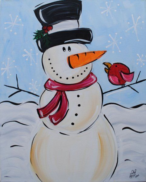 Cute snowman. This would be a cute gift painted onto a canvas or handmade card