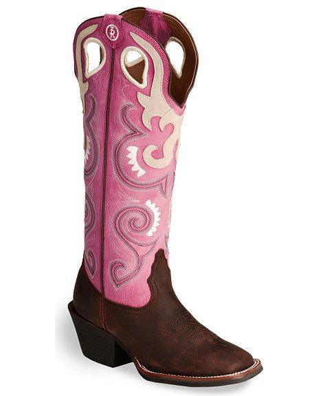 Tony Lama 3R Buckaroo Pink Cowgirl Boot - Wide Square Toe