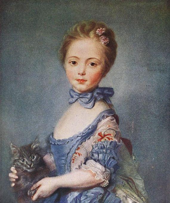 Vintage Girl Holding Cat