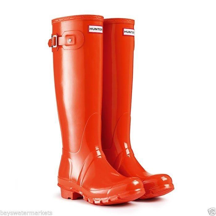 HUNTER ORIGINAL TALL GLOSS CLEMENTINE WELLINGTON BOOTS Welly CORAL ORANGE NWT #Hunter #Rainboots