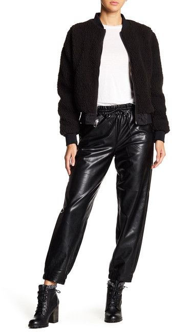 Contemporary Designer Faux Leather Jogger Pants