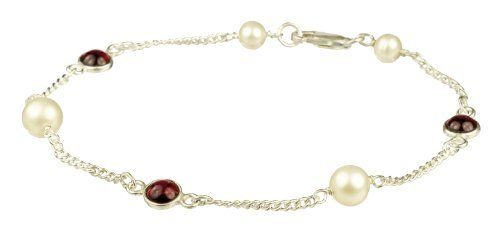 """Sterling Silver with 4 Freshwater Pearl and 3 Garnet Round Cabochon Bracelet, 7.5"""" Lita. $24.50"""