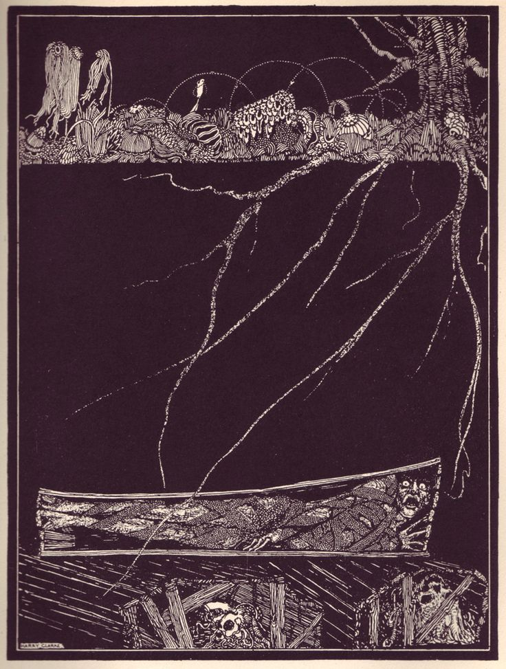 "Illustration from 1923's ""Tales of Mystery and Imagination"" by Edgar Allen Poe, illustrated by Harry Clarke (Ireland, 1889 - 1931)."