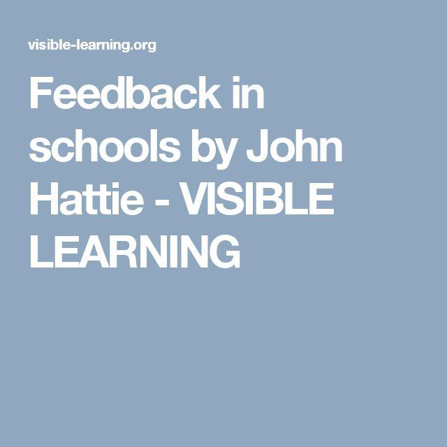 Feedback in schools by John Hattie - VISIBLE LEARNING