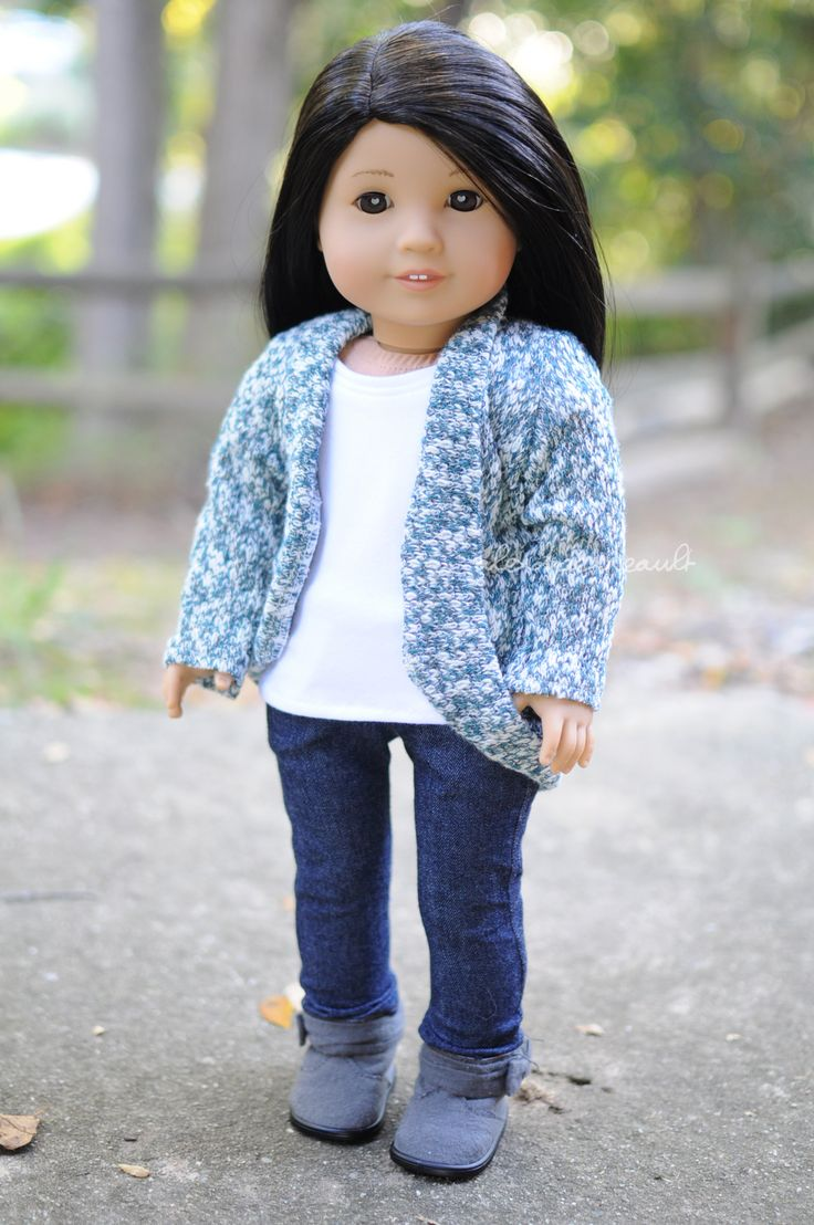 Tee and jeans by Sparrow and Wren, sweater by Royal Doll Boutique and boots are AG brand. American Girl