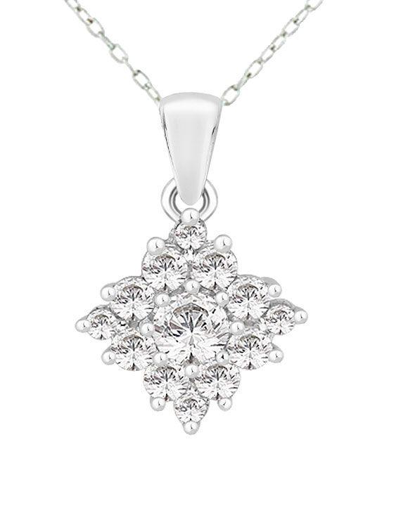 Rhodium Plated Silver & Swarovski Zirconia Cluster Necklace