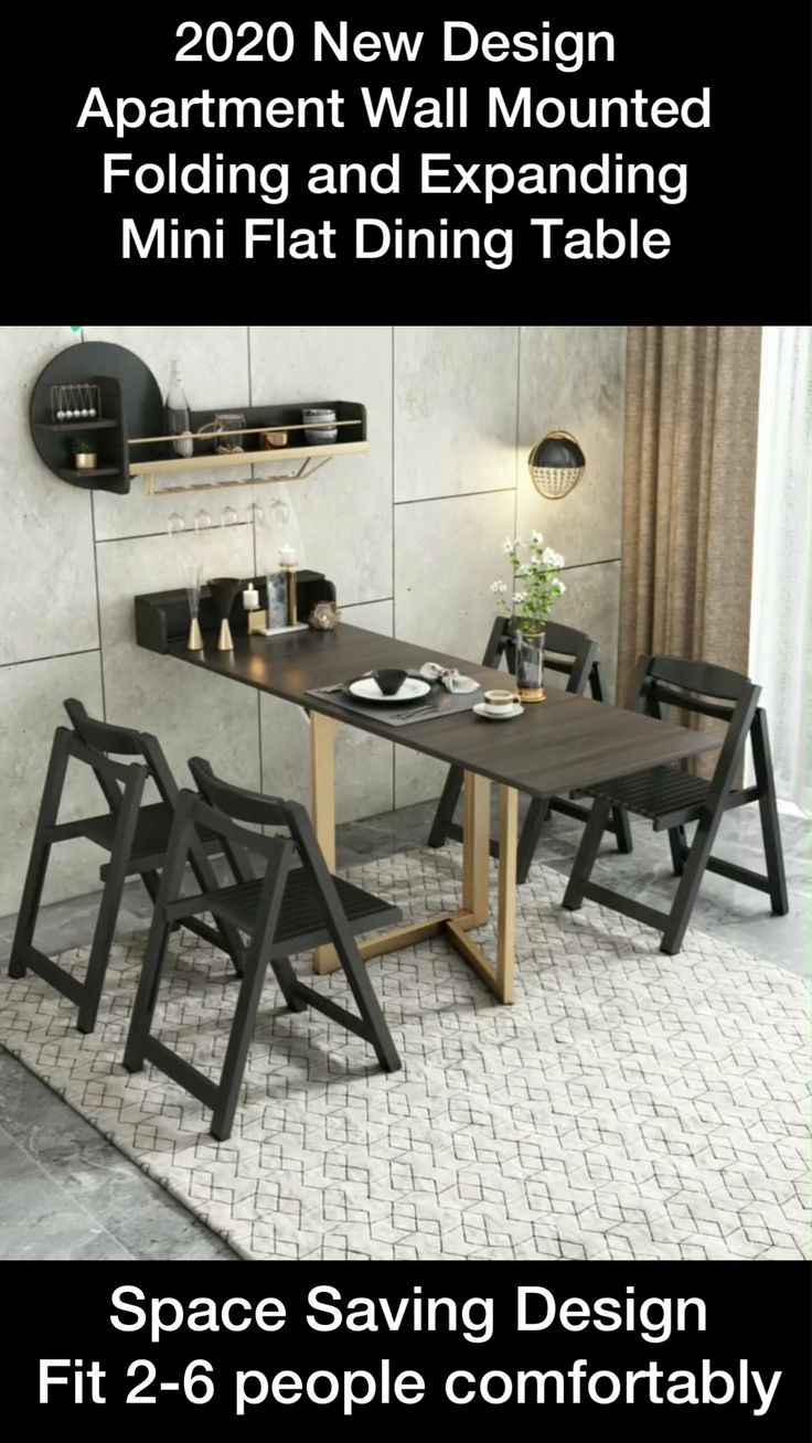 Wall Mounted Dining Table, Dining Table In Living Room, Diy Dining Table, Dining Table Design, Dining Room Furniture, Space Saving Furniture, Built In Furniture, Smart Furniture, Furniture For Small Spaces