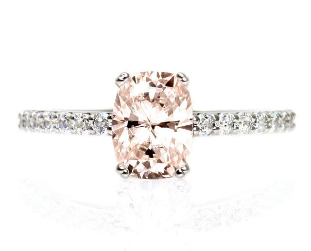 Cushion Morganite Engagement Ring Diamond Morganite Ring 14K White Yellow Rose Gold Bridal Jewelry. $1,120.00, via Etsy.