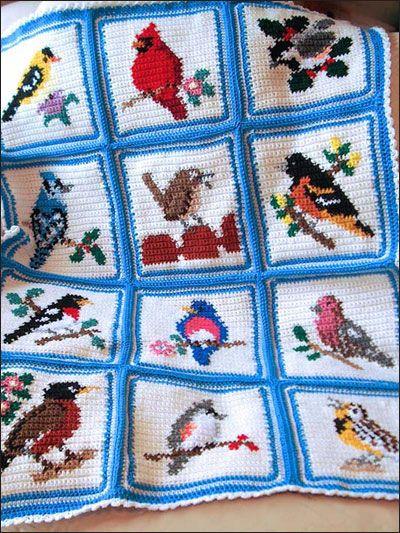 Crochet - Afghan & Throw Patterns - Songbird Afghan & Pillow