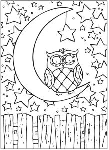 Free Owl On The Moon Coloring Page