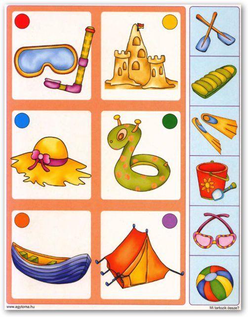 Wat hoort bij elkaar, visuelel discriminatie en logisch denken, free printable / Развивающая игра – Логические цепочки