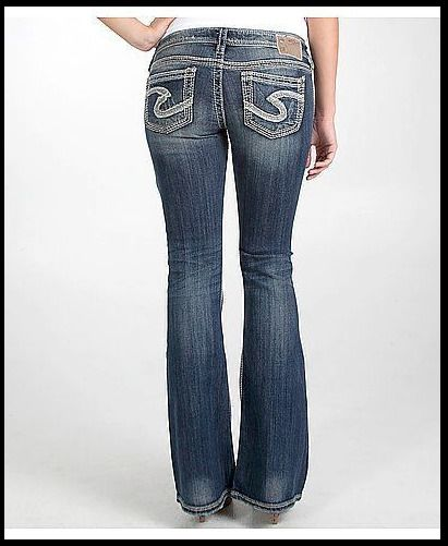 9359a9f4 Womens Silver Jeans Super Low Rise Tuesday Destroyed Flare Stretch 28x33 NWD  #SilverJeans