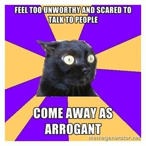 This always happens to me..... I clam up in large social groups or when I'm saturated. I swear I'm nice...