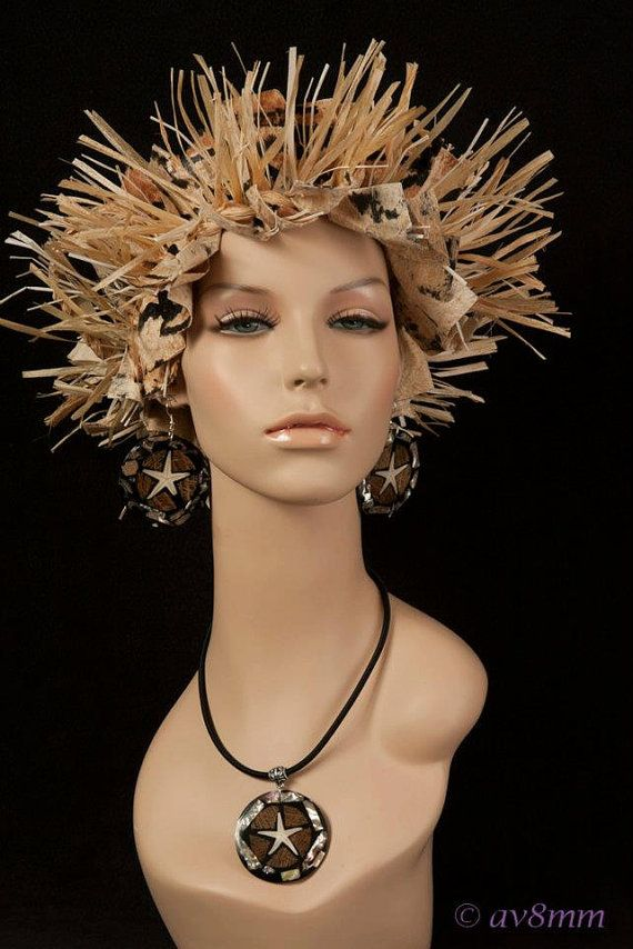 Tapa and Hau Headpiece by TiareOPatitifa on Etsy, $40.00