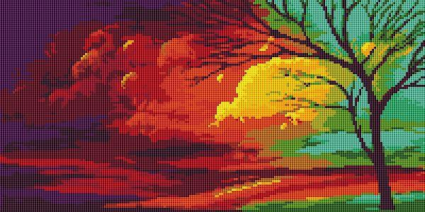 Golden Autumn cross stitch pattern free chart