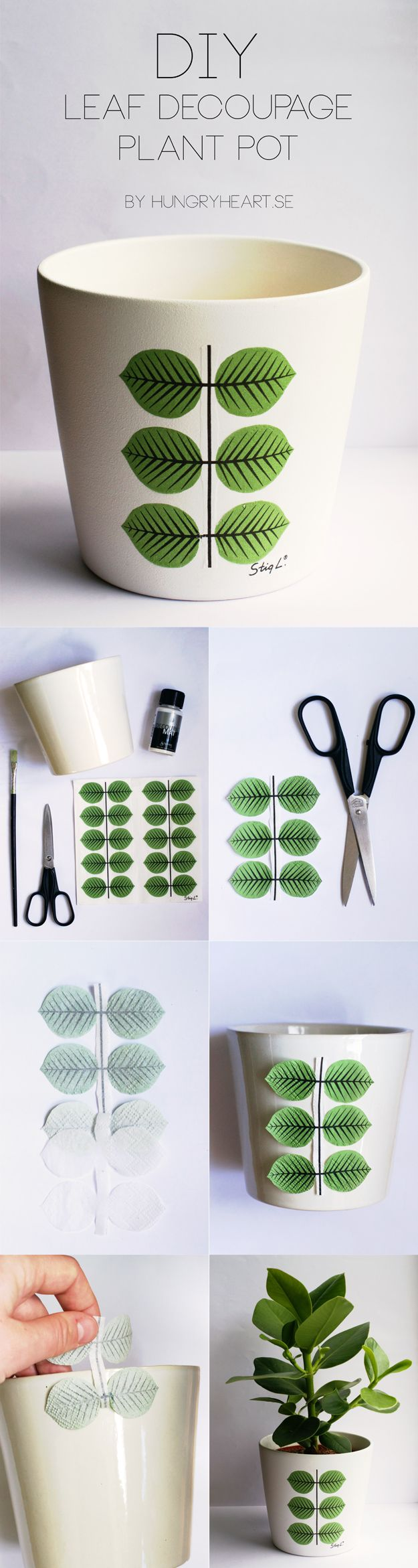 DIY Leaf Decoupage Plant Pot Step by Step Tutorial | HungryHeart.se