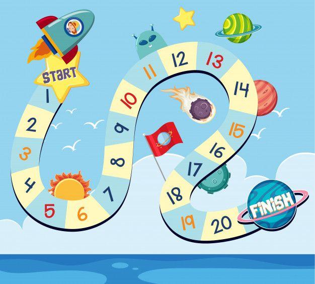 Modelo De Jogo De Tabuleiro Com Foguetes E Planetas Jogos De Tabuleiro Jogos Divertidos Para Criancas Atividades Espaciais