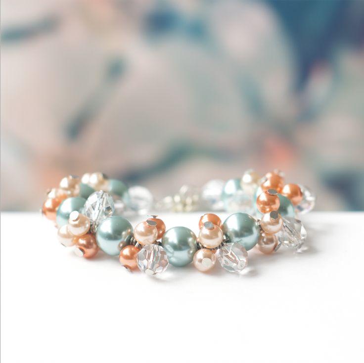 bruidssieraden wedding bridal jewelry armband bracelet Koraal & Turquoise Pearl Love Coral & Aqua Mint €20 $23