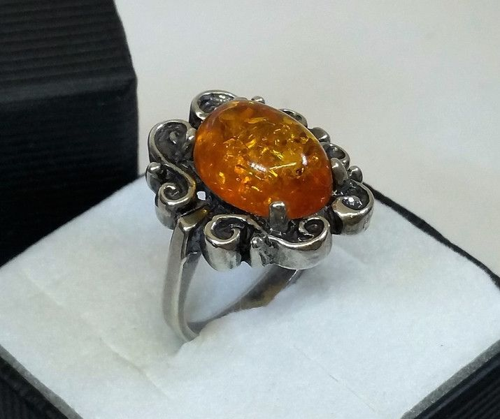 Vintage Ringe - Alter Vintage Ring Bernstein Silber 835er SR623 - ein Designerstück von Atelier-Regina bei DaWanda