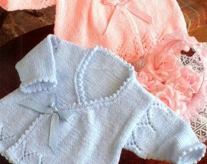 PDF Knitting Pattern - Baby Wrapover Cardigan Jacket Coat Ballet Top Matinee Layette - Instant Download