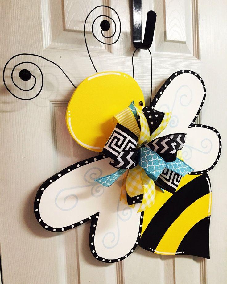 Spring/Summer Bumble Bee Hand Painted Wood Door Hanger by BeccasFrontDoorDecor on Etsy https://www.etsy.com/listing/270180433/springsummer-bumble-bee-hand-painted
