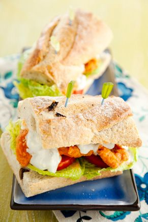 Paula Deen Buffalo Chicken Po Boys (I would change out the blue cheese for ranch instead...) Yum!