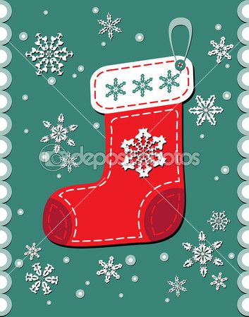 Старинный Рождественский носок пэчворк — Векторная картинка #7249809