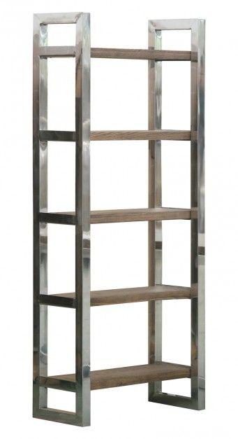 Apeldoorn - nowoczesny, prosty w formie regał, w kolorze French Grey, połączenie stali chromowanej i drewna; 190x80x35 cm. Cena: ok. 3.493 zł, Almi Decor.