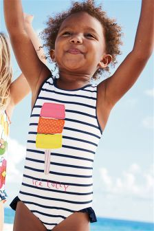 Next Navy/White Ice Lolly Frill Leg Swimsuit (3mths-6yrs) £11.50