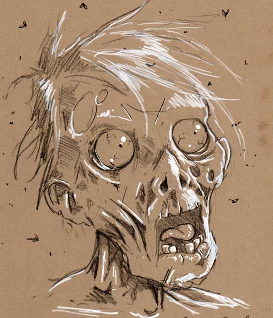 Daily zombie drawing head 2 by zombiecarter on DeviantArt