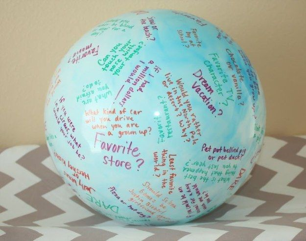 """Throw around a """"toss and talk"""" ball.   39 Slumber Party Ideas To Help You Throw The Best Sleepover Ever"""