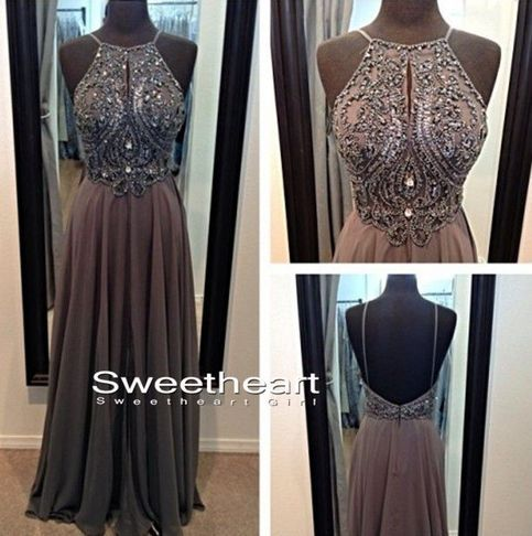 Amazing A-line Chiffon Beaded Long Prom Dresses, Evening Dresses from Sweetheart Girl MARINE CORP BALL. HELLO.