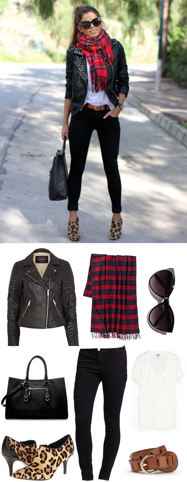 Cool weather dressing: Street Style Inspiration: tartan plaid + leopard + leather biker jacket