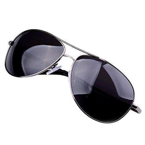 Tangda gafas de sol polarizadas para hombre con lentes de efecto espejo estilo piloto- negro