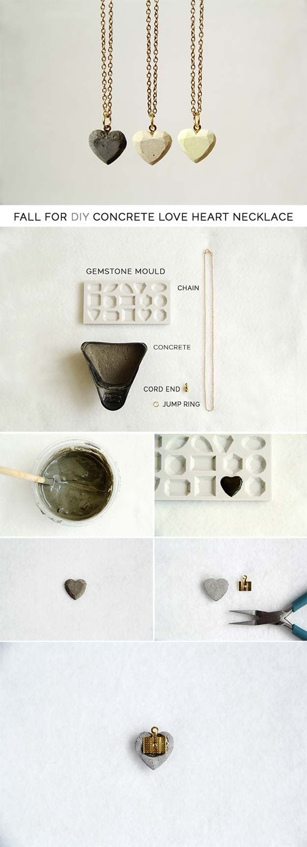 Best DIY Ideas from Tumblr - DIY Concrete Love Heart Necklace - Crafts and DIY Projects Inspired by Tumblr are Perfect Room Decor for Teens and Adults - Fun Crafts and Easy DIY Gifts, Clothes and Bedroom Project Tutorials for Teenagers and Tweens http://diyprojectsforteens.com/diy-projects-tumblr