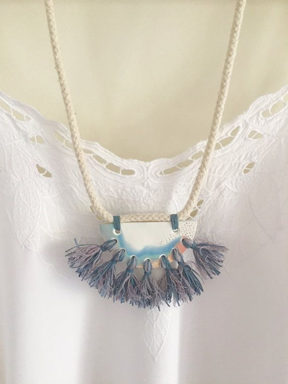 Polymer clay pendant necklace with tassels by Kelaoke