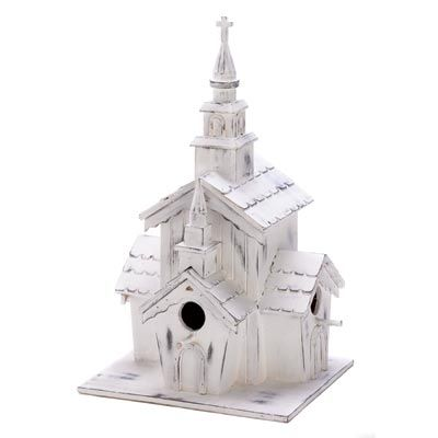 Little White Chapel Birdhouse. I think I want to give my yard an all white decorations theme. This white chapel birdhouse would go perfect. It would look so cute in the winter too!