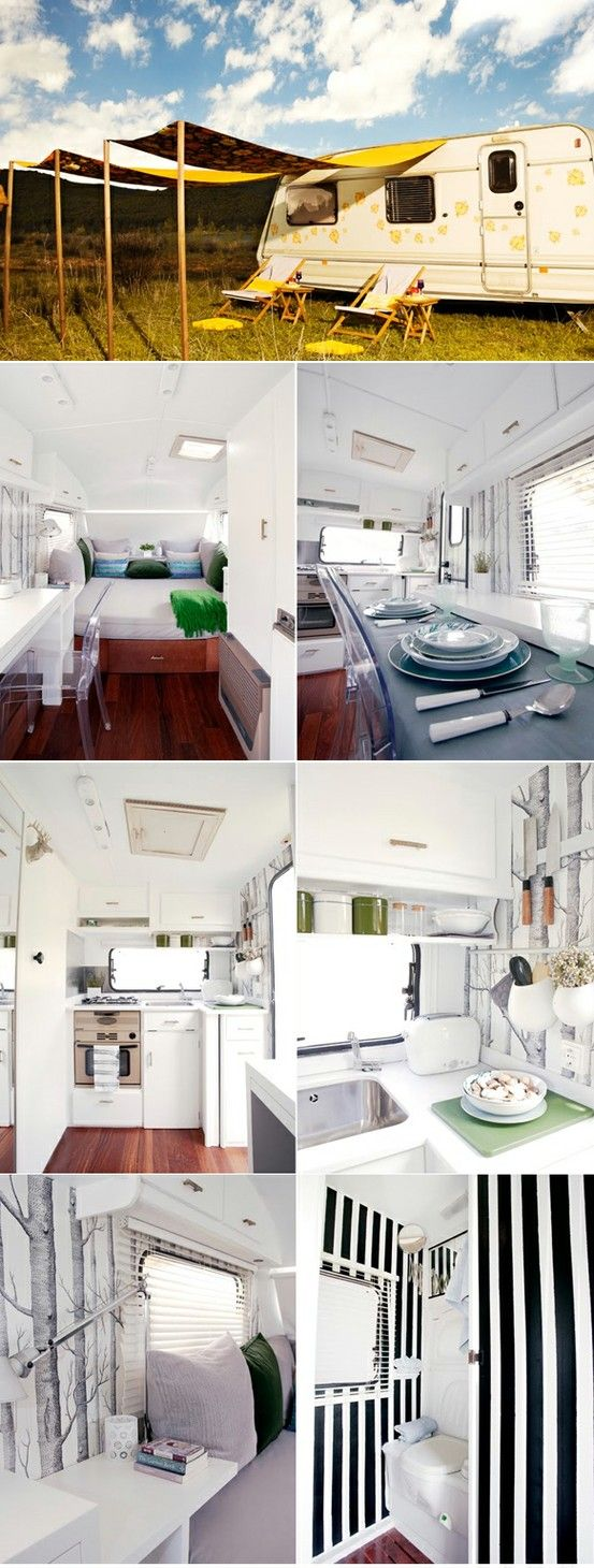 Caravan Interior - this is so fun! Makes me want to buy one off Craigslist and fix 'er up!