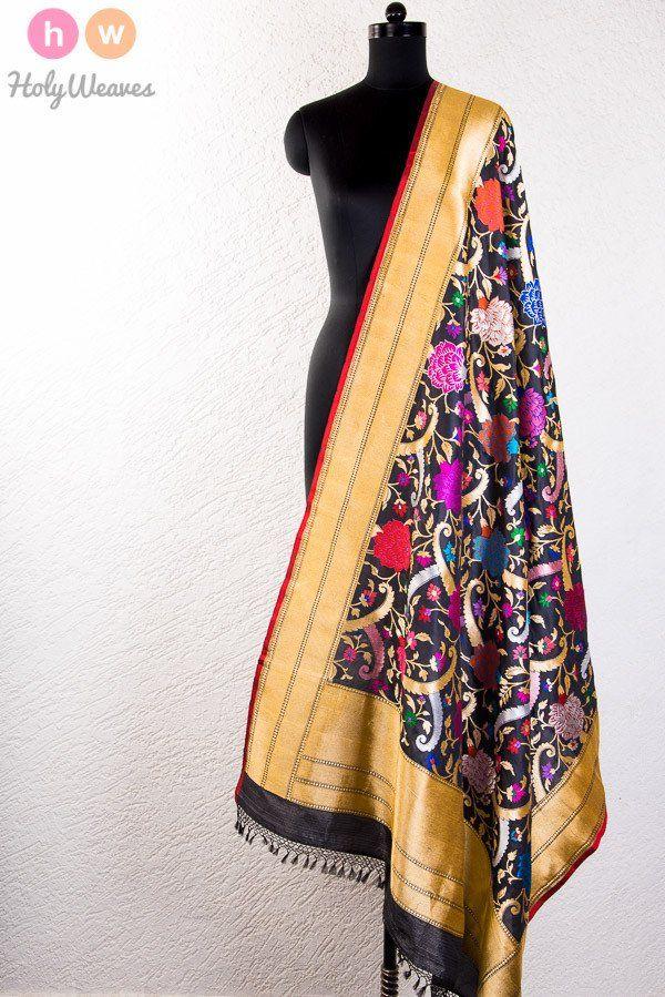 #Black #Katan #Silk #Kadhuan #Brocade #Handwoven #Dupatta #HolyWeaves